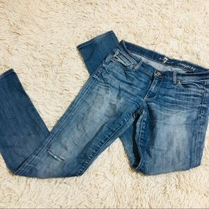 7 for all mankind distressed jeans 27 straight leg